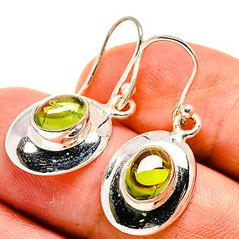 "Peridot Earrings 1 1/4"" (925 Sterling Silver)  - Handmade Boho Vintage Jewelry EARR406527"