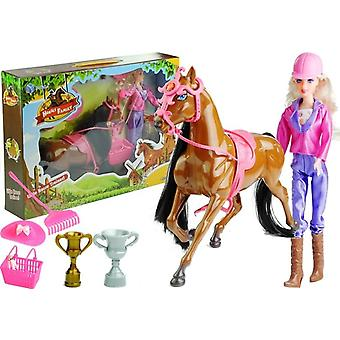 Doll and the Horse in the Barn Set + Accessories Brown
