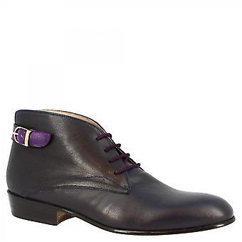 Leonardo Schuhe Frauen's Derby Schnürschuhe handgefertigt blau/violett