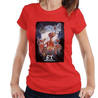 E.t. El cartel cinematográfico extra terrestre Montage mujer's camiseta