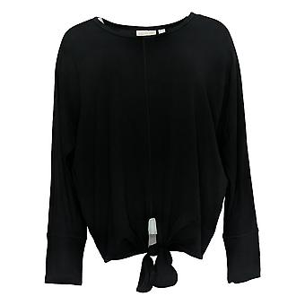 Belle by Kim Gravel Women's Top French Terry Tie-Front Black A383514