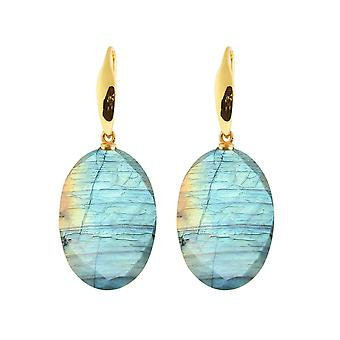 Gemshine earrings Labradorite oval drops in 925 silver, gold plated or rose