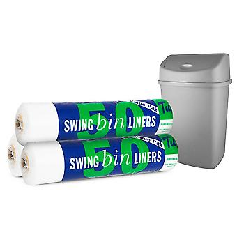 150 Pack of Tuffy Value Pack Swing Bin Liners -12cm x 23cm x 28cm - Clear(3x50)