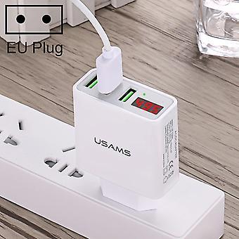 USAMS US-CC035 3 portos USB fali töltő LED kijelzővel, EU Plug, IPad , iPhone, Galaxy, Huawei, Xiaomi, LG, HTC és egyéb okostelefonok, Rechargea