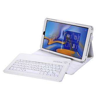 SA590 بلوتوث 3.0 الليتشي الملمس قابل للفصل بلوتوث لوحة المفاتيح الجلود حالة سامسونج غالاكسي تبويب A 10.5 بوصة T590 / T595، مع حامل (أبيض)