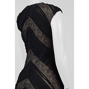 Neck Cap Sleeve Chevron Pattern Lace Dress