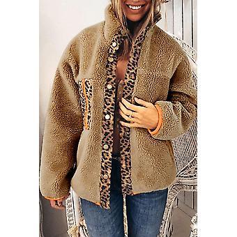 Leopard Patchwork abrigo de vellón abotonado