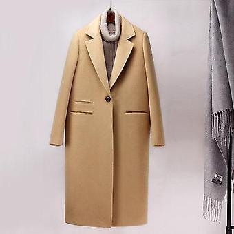 חורף אופנה קשמיר צמר לבוש חוץ נקבה ארוך עיבוי מעיל חם