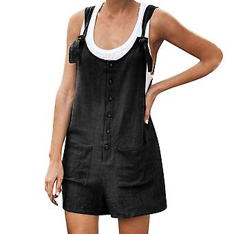 Women Rompers, Summer Casual, Loose Sleeveless Jumpsuit, Solid Button, Pocket