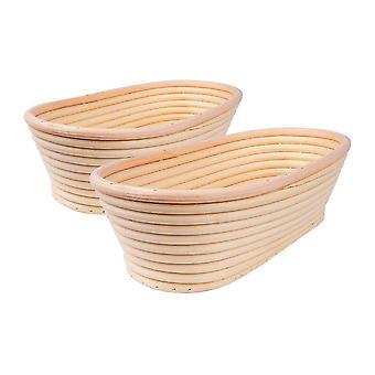2pcs15*8*5cm Natural Rattan Oval Bread Storage Fermentation Basket Wood Color