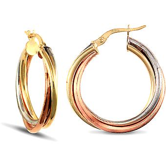 Jewelco London Ladies 9ct Yellow White and Rose Gold Russian Wedding Ring 3mm Hoop Boucles d'oreilles 25mm