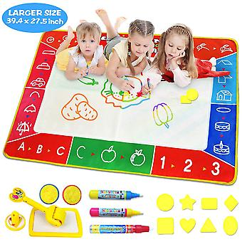 Water doodle mat, larger(39.4 x 27.5 inch) multicolored no mess water drawing painting pad with 3 ma