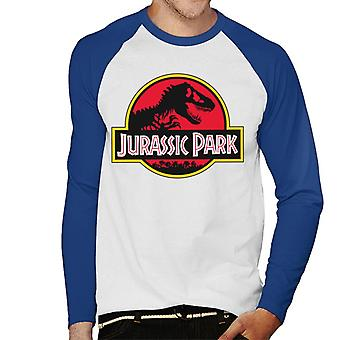Jurassic Park Classic Yellow Outline Logo Men's Baseball Long Sleeved T-Shirt
