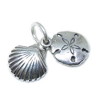 Tiny Seashell & Sand Dollar Sterling Silber Charm .925 X 1 Muscheln - 8655
