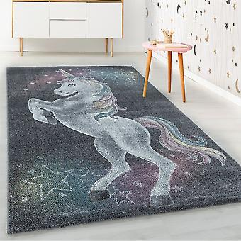ShortFlor alfombra infantil gris unicornio estrellas diseño nursery alfombra suave