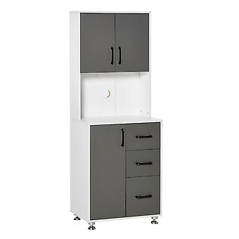 HOMCOM Modern Kitchen Cupboard with Storage Hutch Pantry,2 Cabinets, 3 Drawers and Open Countertop, Grey