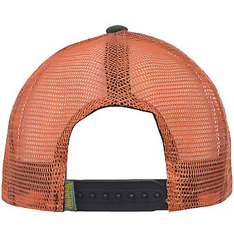 フォン・ダッチ メンズ パッチ ロゴ 調節可能なスナップバック迷彩トラック運転手キャップハット - カモ/オレンジ