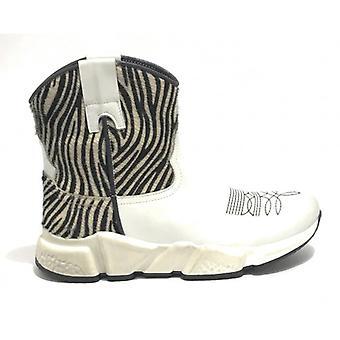 Women's Shoes Life Texan Ankle Boot Running Bottom In White Leather/ Zebra Ds19li04