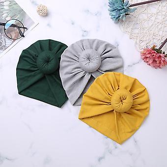 Set van 3 pasgeboren baby katoen zachte knoop hoed