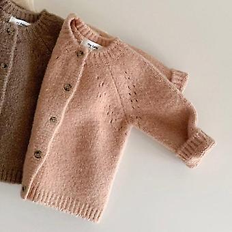 طفل سترة متماسكة Cardigans Knitwear طويلة الأكمام القطن سترة قمم