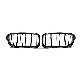 2Pcs gloss black front bumper hood kidney grille double line racing replacement for bmw f30 f31 f35 3 series 2012-2016