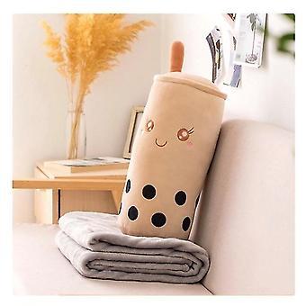 Simulación de almohada de té de perlas y manta, asiento de la manta de aire acondicionado de siesta Cojín