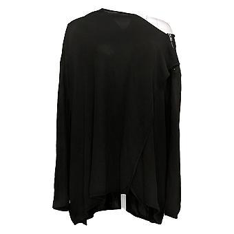 DG2 Af Diane Gilman Women's Plus Strik Drapere-Front Easy Jacket Black 715332