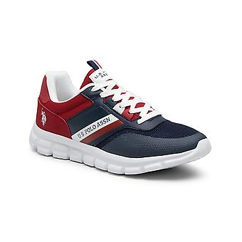 Shoes U.S. Polo Sneaker Gary 125 Ecosuede/ Red Fabric/ Dark Blue Men's Us21up14