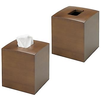 mDesign Square Bamboo Paper Facial Tissue Box Cover Holder, 2 Pack