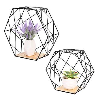 Set Of 2 Wire Metal Geometric Hexagonal Floating Wall Shelves Storage Home Decor