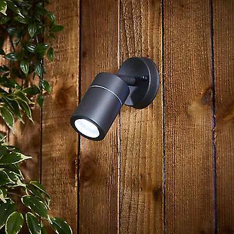 Biard Matte Black Adjustable Down Spotlight IP44 Indoor / Outdoor Wall Light
