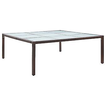 Tavolo da pranzo da giardino marrone 200x200x74 Cm Poly Rattan