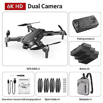 Hkna new s608 gps drone 6k dual hd camera professional aerial photography brushless motor foldable quadcopter rc distance 3000m