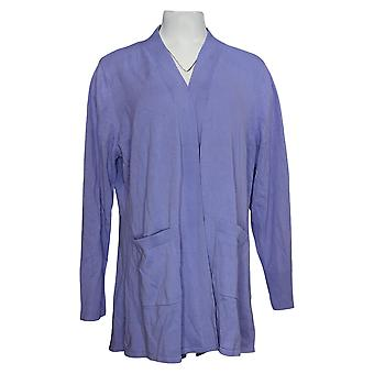Isaac Mizrahi En direct! Women's Sweater Cardigan W/ Hi-Low Hem Purple A392229
