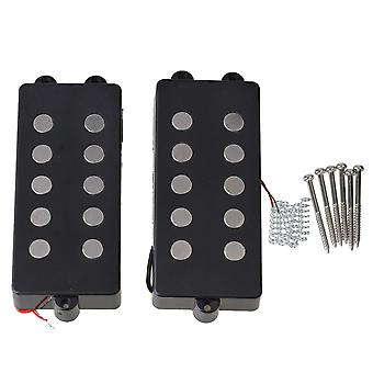 2x Metal Bass Guitar Pickup 5 String Black Terminals Humbucker para M Style Bass