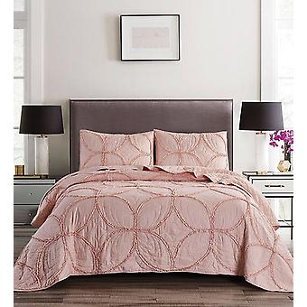 Spura Home Geometric Wedding Ring Solid Blush Full/Queen Size Quilt Set