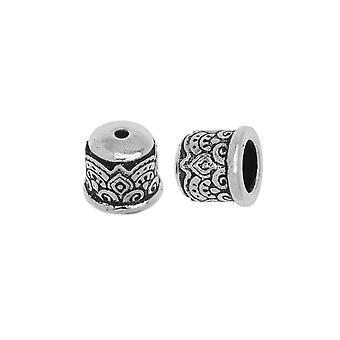 TierraCast Cord Ends, Temple Dome 9mm, Fits 6mm Cord, 2 Pieces, Antiqued Silver Plated