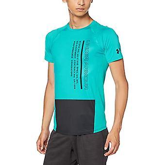 アンダーアーマーMK1カラーブロックTシャツ、メンズTシャツ、ティールラッシュ、XS