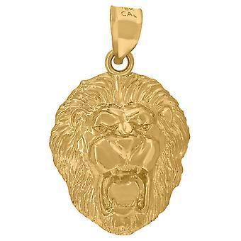 10 k Gelbgold Herren Sternzeichen Leo Löwe Kopf Anhänger Anhänger Halskette Schmuck Geschenke für Männer