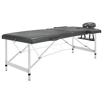 mesa de masaje vidaXL con marco de aluminio de 2 zonas antracita de 186×68 cm