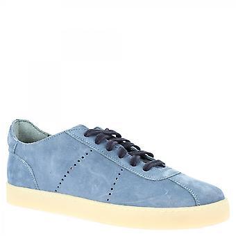 ليوناردو أحذية الرجال اليدوية أحذية رياضية أعلى منخفضة في جلد الغزال الأزرق الفاتح