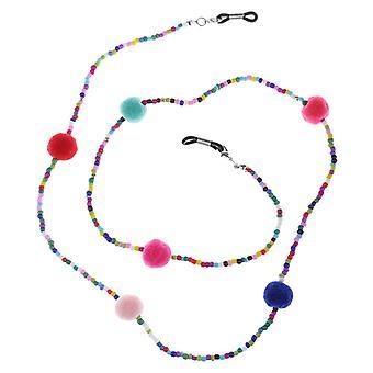 Anti Slip Colorful Beads Plush Ball Eyeglass Chain