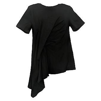 DG2 by Diane Gilman Women's Top Reg Asymmetric Drape-Front Black 742557