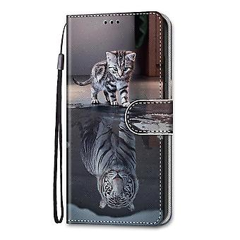 Case For Xiaomi Redmi Note 10 Pro Painted Flip Cover Magnetic Closure Cat And Tiger