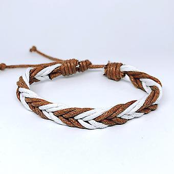 Bracelet tressé fait à la main avec des cordes blanches et brunes