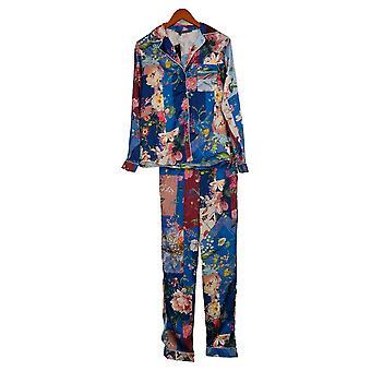 Tolani Collection Damen Pyjama Set Long Slv Blumendruck Blau A390127