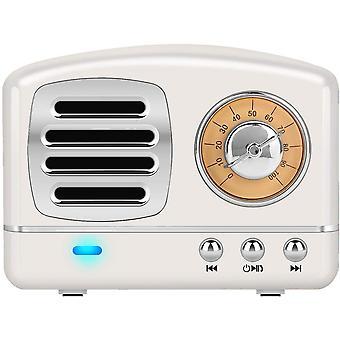 Mini haut-parleur bluetooth rétro portable, style classique à l'ancienne, haut-parleur stéréo caisson de basses, microphone intégré, appel mains libres, le meilleur cadeau pour la famille et les amis (blanc)