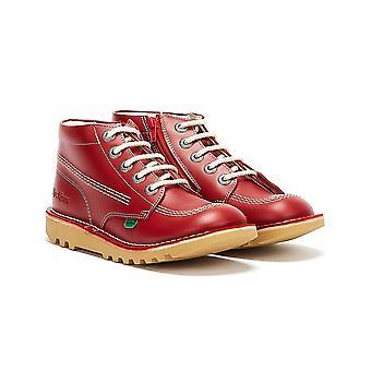 كيكرز ركلة مرحبا الرمز الأحمر جونيور / أحذية جلدية بيضاء