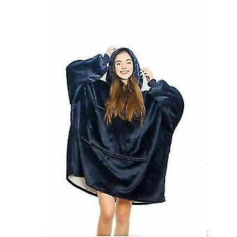 Overdimensioneret fleece plys Sherpa Tæppe Stylet Pullover med hættetrøje (Blå)