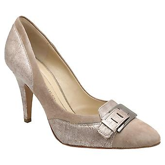 Peter Kaiser Fafore Taupe Suede High Heel Court Shoe With Buckle